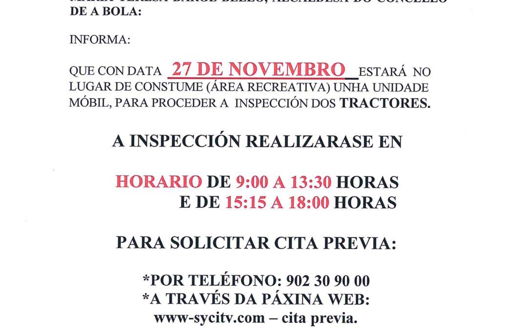 Inspección de Tractores no concello de A Bola