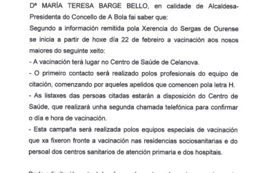 CAMPAÑA DE VACINACIÓN DE MAIORES DE 80 ANOS CONTRA A COVID-19