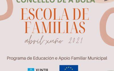 """Comezo da 4ª edición da """"Escola de Familias 2021"""" (formato en liña)"""